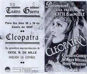 TEATRO GUERRA 1936 ESTRENO DE CLEOPATRA