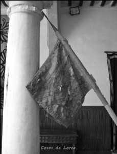 Antiguo pendón que actualmente porta la histórica asta de Lorca.