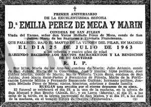 ESQUELA CONDESA SAN JULIAN 1964