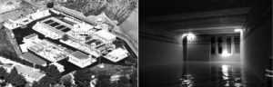 Izq.: vista aérea de la ETAP de Lorca, en el barrio de Los Ángeles; dcha.: imagen del interior del Depósito de Reserva de Lorca (Fuente: MCT).